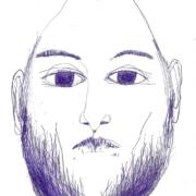 männlicher Kopf mit Vollbart und sehr großen Augen und goldenem Punkt