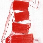 weibliche Figur mit Turban und Galakleid, die Hand abgeknickt