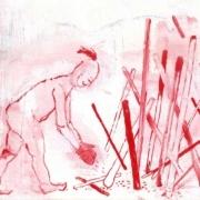 männliche Figur mit Irokesenfrisur und Boxhandschuhen macht ein Lagerfeuer