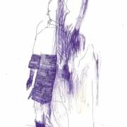 blaue Figur in Schraffur mit Mantel und einem Stiefel
