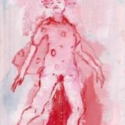 weibliche Figur in Gymnastikanzug mit Umhang pinkelnd, rot weiß