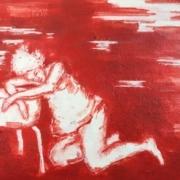 weibliche Figur, träumend an einen Hocker gelehnt, rot weiß