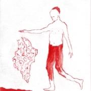 Junge lässt eine Salzkristall schweben, rot weiß