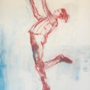 weibliche Figur tanzend, rot weiß