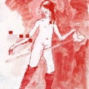 Stechende nackte weibliche Figur mit einem Steckenpferd. Rot weiss.