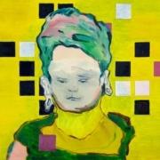 Porträt Kopf auf gelbem Hintergrund