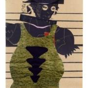 schwarze weibliche Figur tanzt im Tanga