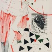 drei figuren in einem Regen aus roten Stöckchen, ineinander verwoben