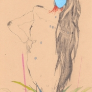 weibliche Figur mit blauer Maske und langen wildem Haar entwächst aus einer Pflanze