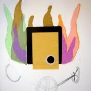 Feuerschale mit Rädern Zeichnung, bunte Flammen Collage