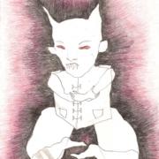 kleiner Dämon in pinkschwarzer Aura