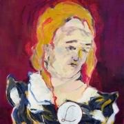 männliche Büste mit ockerfarbenem Haar, einer Brosche mit dem Buchstabe L vor krapplackfarbenem Hintergrund a