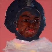 Afroamerikanischer Frauenkopf auf rotem Hintergrund