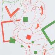 drei Figuren hantieren mit Quadraten