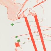 drei Figuren balancieren auf Stelzen, zwischen Stäbchen und auf Quadraten