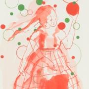 doppelköpfige, weibliche Figur mit Blasen und Quadraten