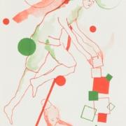 drei Figuren schweben durch den Raum, mit Bällen und Quadraten