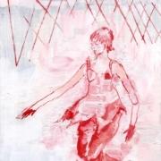 weibliche Figur rennt an einem Zaun entlang