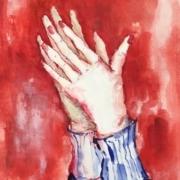 senkrechte, klatschende Hände mit blauen Pulloverbündchen