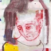 weibliches Portrait mit burgundfarbener Haube