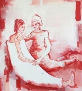 zwei Figuren, Kranke mit Pflegerin, in rot und weiß
