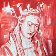 Büste einer mittelalterlichen Königin in rot und weiß