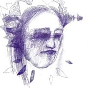 weibliches Gesicht mit Häubchen und goldnem Punkt