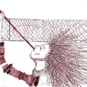 Figur mit lockigem Haar bläst in ein Signalhorn