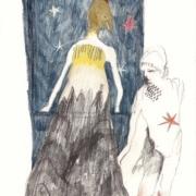 Fabelwesen vor blauem Sternenvorhang und ein Junge