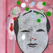 japanische Maske auf rosa Grund