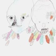 zwei Masken mit Federn, männlich und weiblich