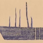 Kugelschreiberzeichnung, Boot mit Tentakeln, Schraffur