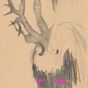 Bleistiftzeichnung, Kopf mit Geweih, Augen pink
