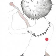 Zeichnung, Rückenansicht einer Figur mit Bastrock und Keule