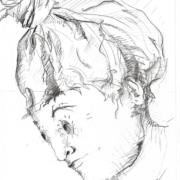 Bleistiftzeichnung, Kopf mit Turban