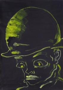 Mann mit Melone als gelbe Zeichnung auf schwarzem Grund